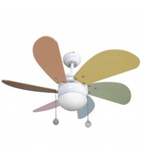 Ventilador Blanco Delfin 6 Aspas C. Pastel 1xe27 41x65 D 3 Velocidades