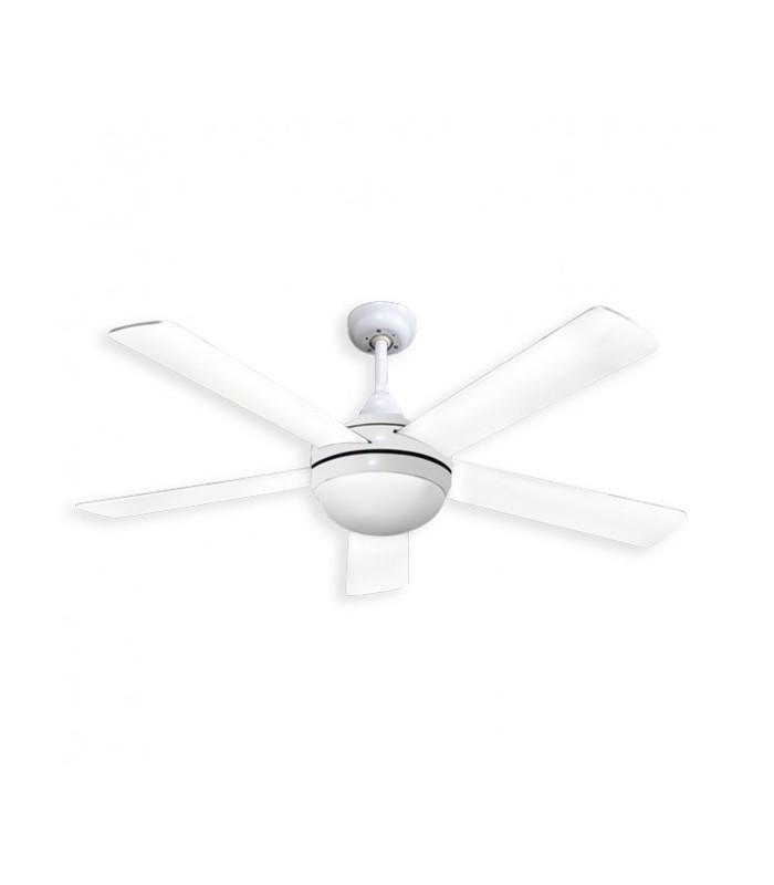 Ventilador Biruji Blanco 2xe27 5 Aspas Blancas cuerpo blanco 43,5x130d Control Remoto