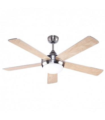 Ventilador Biruji Niquel 2xe27 5 Aspas Plata/haya 43,5x130d Control Remoto